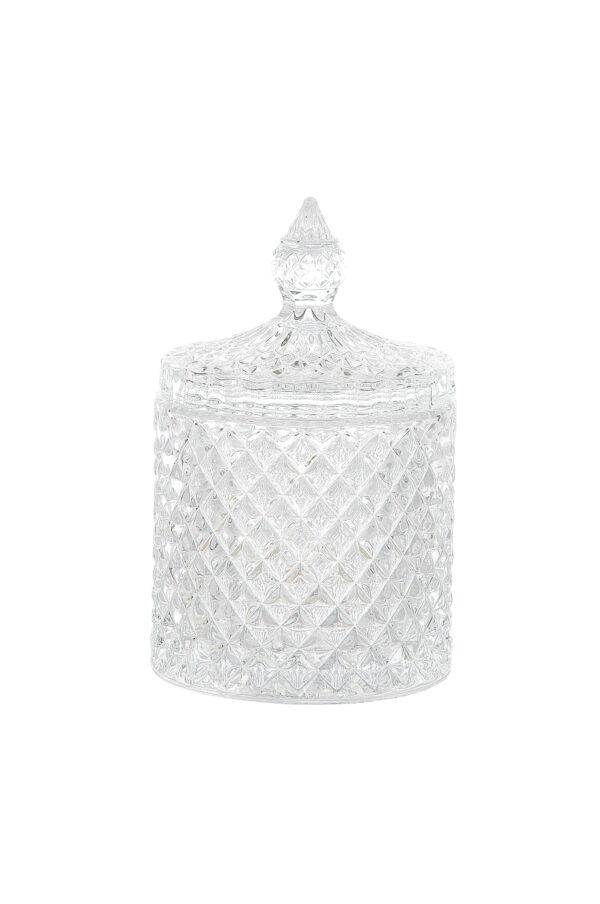 Coppa Potiche Portaconfetti con coperchio in vetro stile boemia d. 8,5 x h. 14 cm