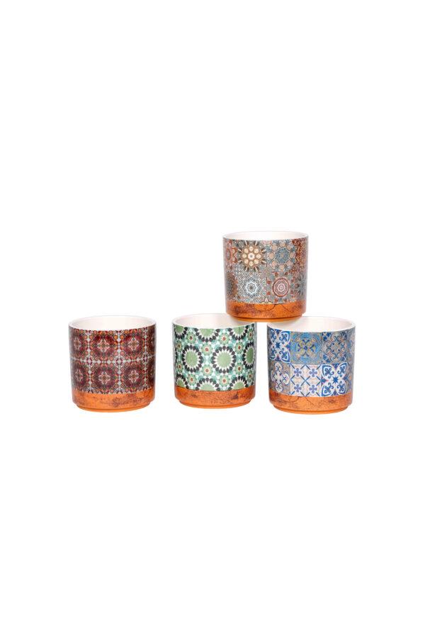 Set 4 vasi tondi in ceramica con maioliche - cementine mix design 13 x h. 12,8 cm