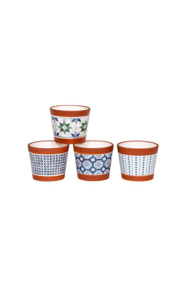 Set 4 vasetti tondi in ceramica con maioliche – cementine mix design sui toni del blu 10,2 x h. 8,5 cm