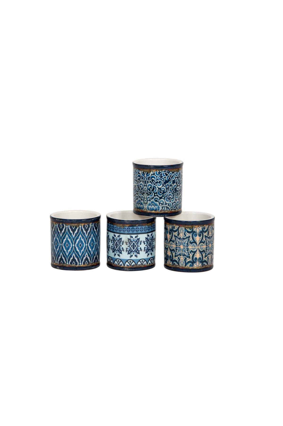 Set 4 vasetti tondi in ceramica con maioliche - cementine mix design sui toni del blu 7,3 x h. 7,5 cm
