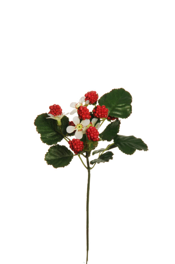 Ramo artificiale con lamponi rossi e fiori bianchi 25 cm
