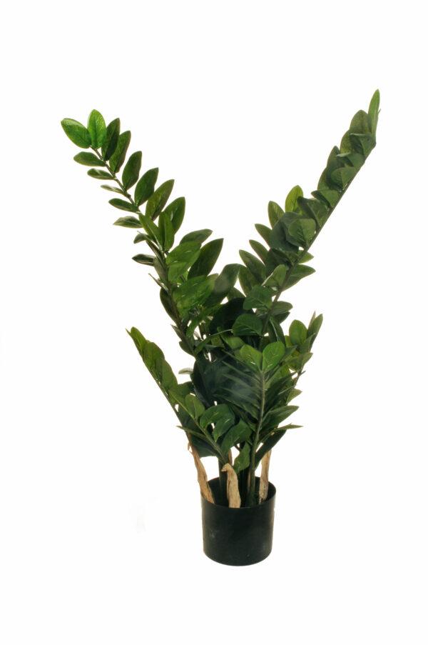 Pianta succulenta artificiale Zamioculcas o Zamilifolia con 166 foglie verdi con vaso nero in plastica d. 14 cm; h. 12,5 x 90 cm