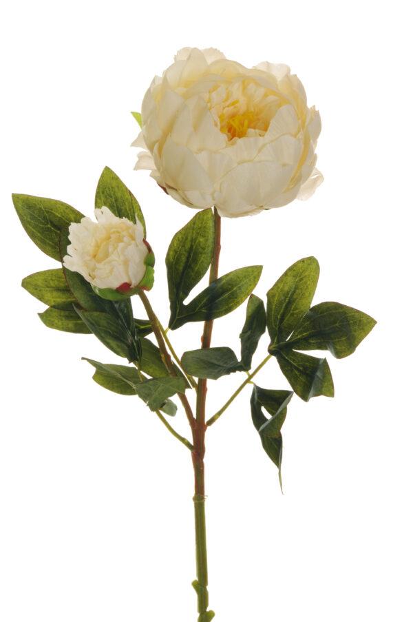 Ramo Peonia artificiale con 1 fiore e 1 bocciolo colore crema 66 cm