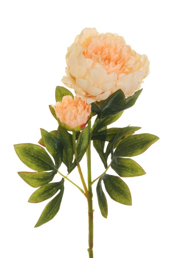 Ramo Peonia artificiale con 1 fiore e 1 bocciolo rosa salmone 66 cm