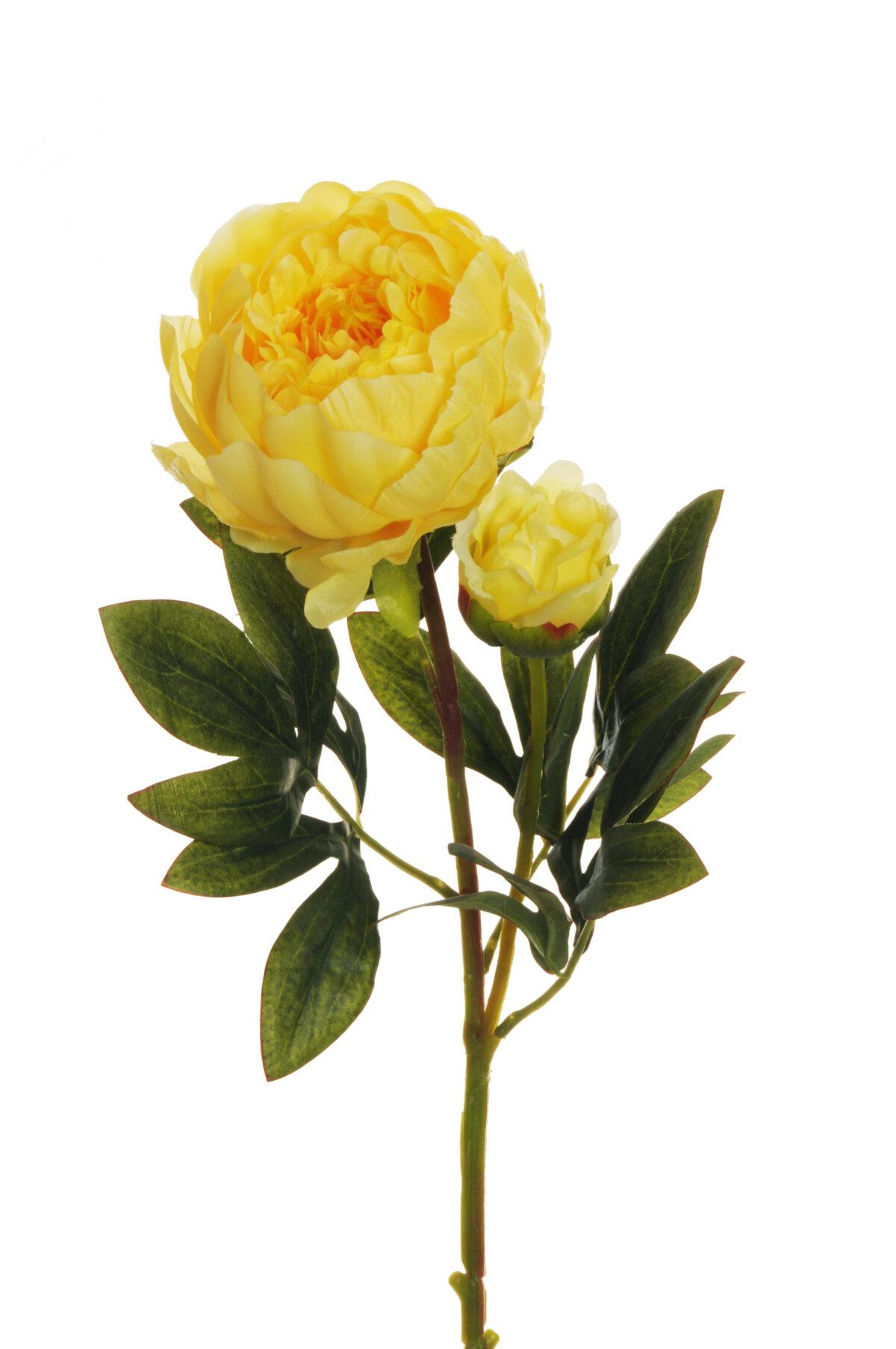Ramo Peonia artificiale con 1 fiore e 1 bocciolo colore giallo 66 cm