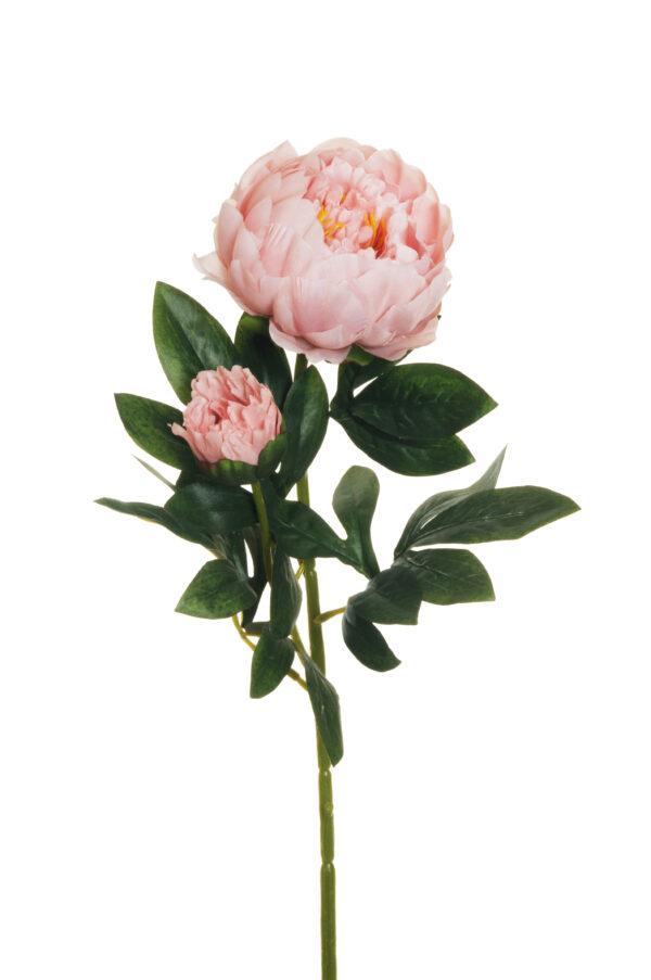 Ramo Peonia artificiale con 1 fiore e 1 bocciolo rosa antico 66 cm