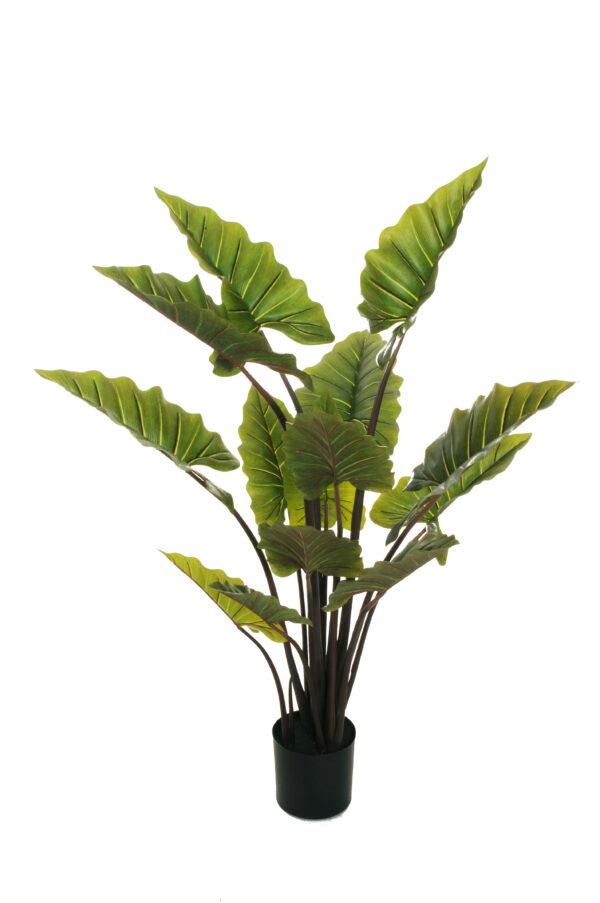Pianta artificiale di Taro con 14 foglie verdi in vaso nero di plastica d. 19 x h. 17,5 cm, h. pianta 140 cm