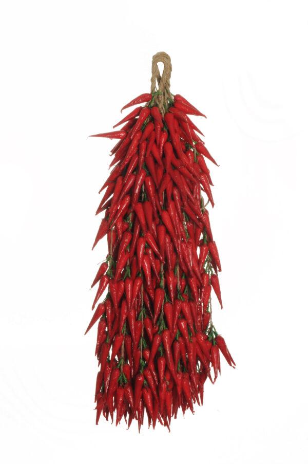 Ghirlanda con peperoncini rossi artificiali in polistirolo 20 gruppi di 30 frutti 5 cm legati con raffia naturale 52 cm