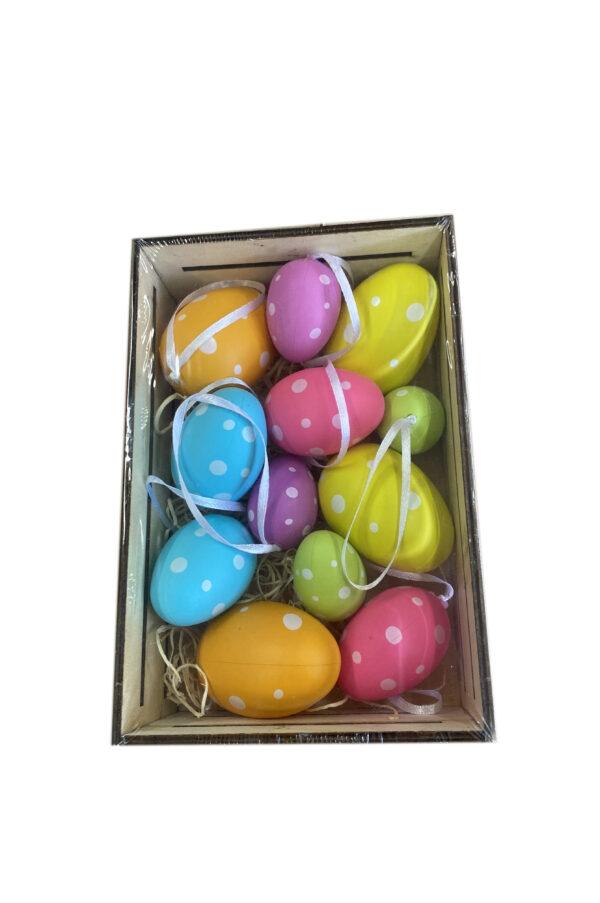 Box cassetta in legno con 12 uova in misure e col. assortiti a pois da appendere con apposito cordino