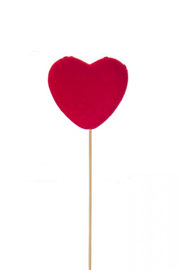 Set 5 Pick cuore rosso in velluto 28 x 9 cm