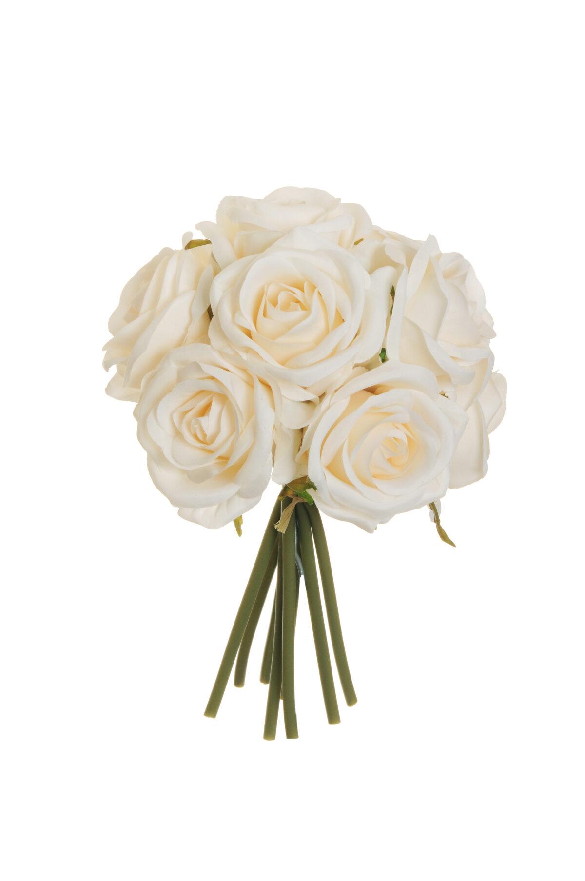 Mazzo nuziale con 9 rose artificiali color crema 25 cm