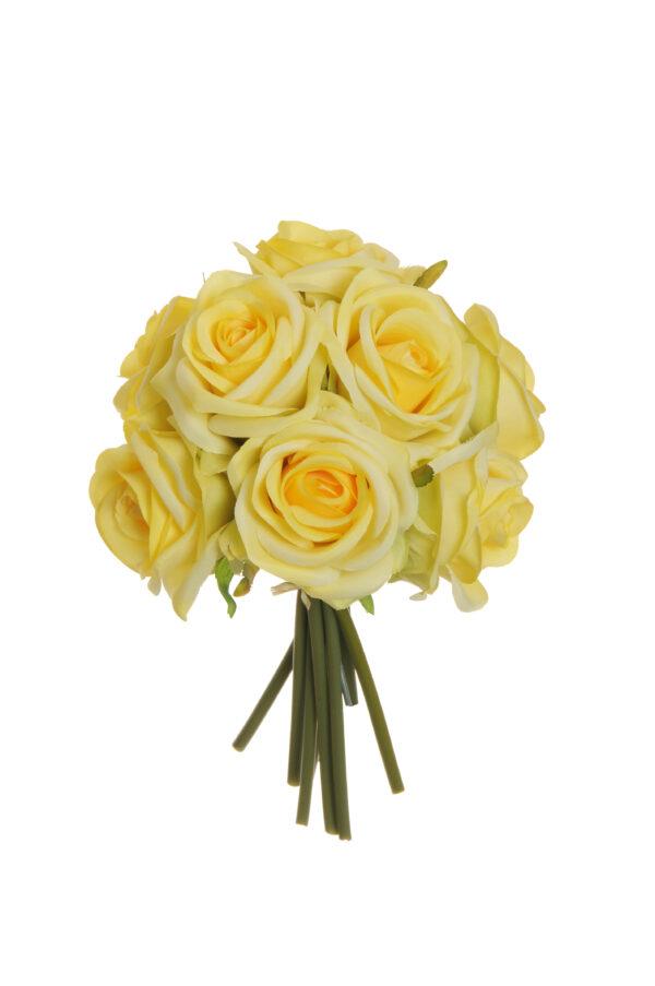 Mazzo di fiori con 9 rose artificiali colore giallo 25 cm