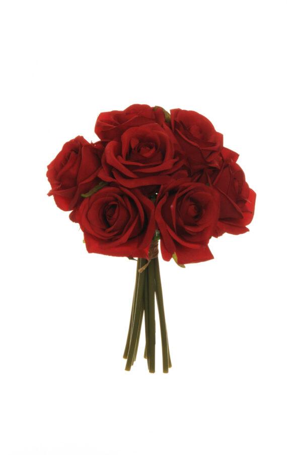 Mazzo di fiori con 9 rose artificiali colore rosso 25 cm