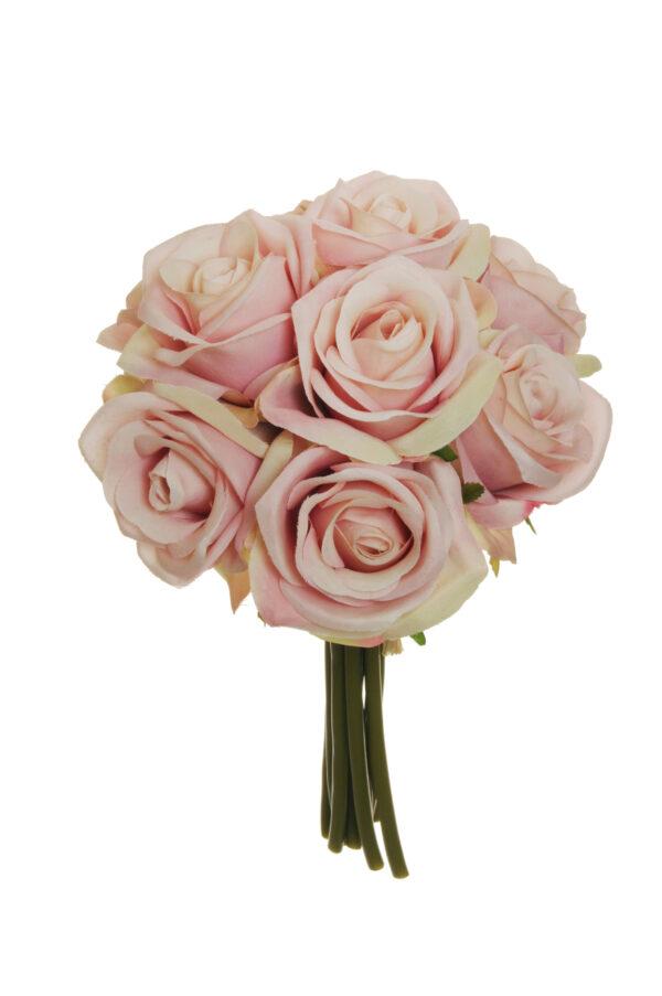Mazzo nuziale con 9 rose artificiali color rosa chiaro 25 cm
