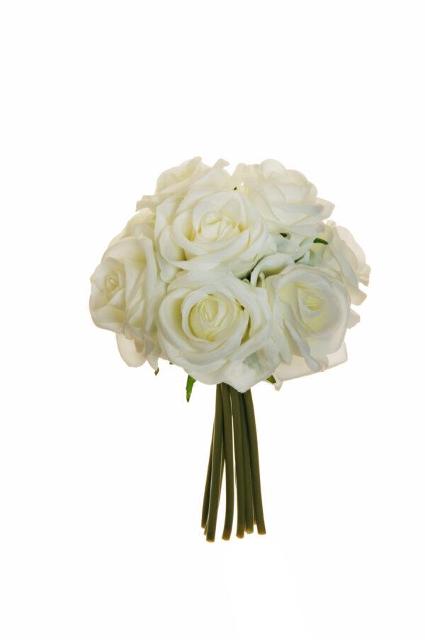 Mazzo nuziale con 9 rose artificiali colore bianco 25 cm