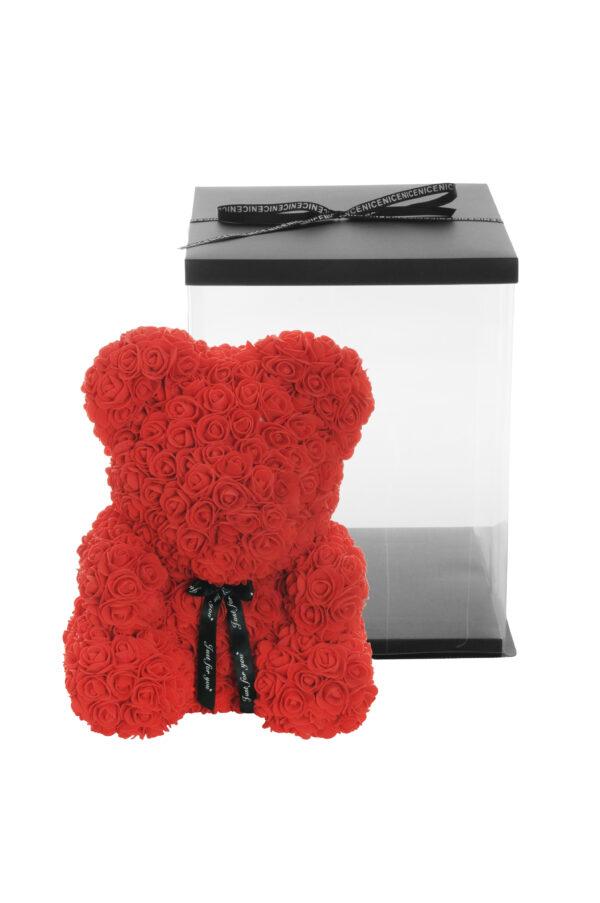 Orsetto Teddy Rose Bear di rose artificiali in plastic foam colore rosso con scatola regalo h. 40 cm