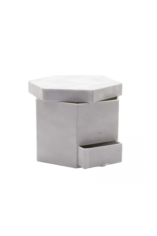 Scatola regalo – Flower box Bianca esagonale con cassetto 23 x 20 x 15,5 cm