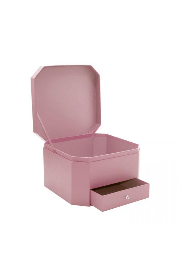 Scatola regalo – Flower box Rosa esagonale con cassetto 25 x 25 x 16 cm
