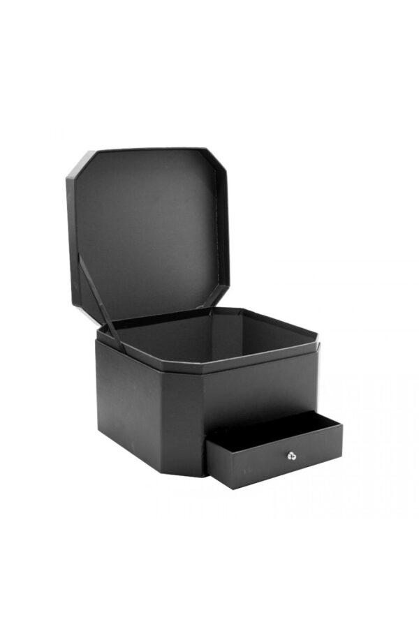 Scatola regalo – Flower box Nera esagonale con cassetto 25 x 25 x 16 cm