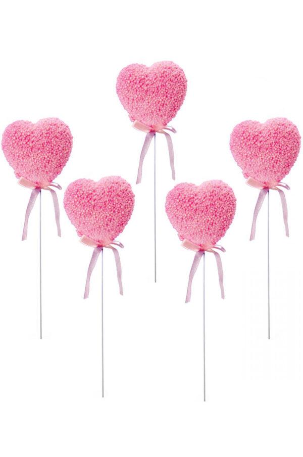 Set 5 Pick cuore rosa glitterato con palline 7 x 7 cm
