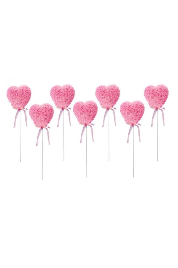Set 6 Pick cuore rosa glitterato con palline 5 x 5 cm