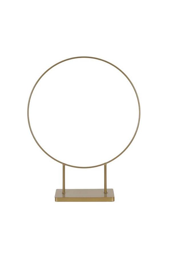 Struttura Cerchio in ferro oro opaco per eventi con 2 tagli (smontabile in 2 semicerchi + base) d. 210 cm