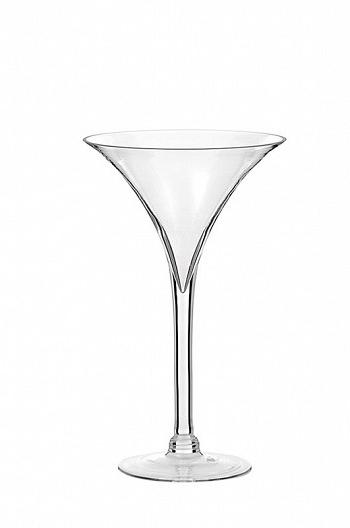 Vaso coppa martini in vetro trasparente h. 40 d. 25 cm