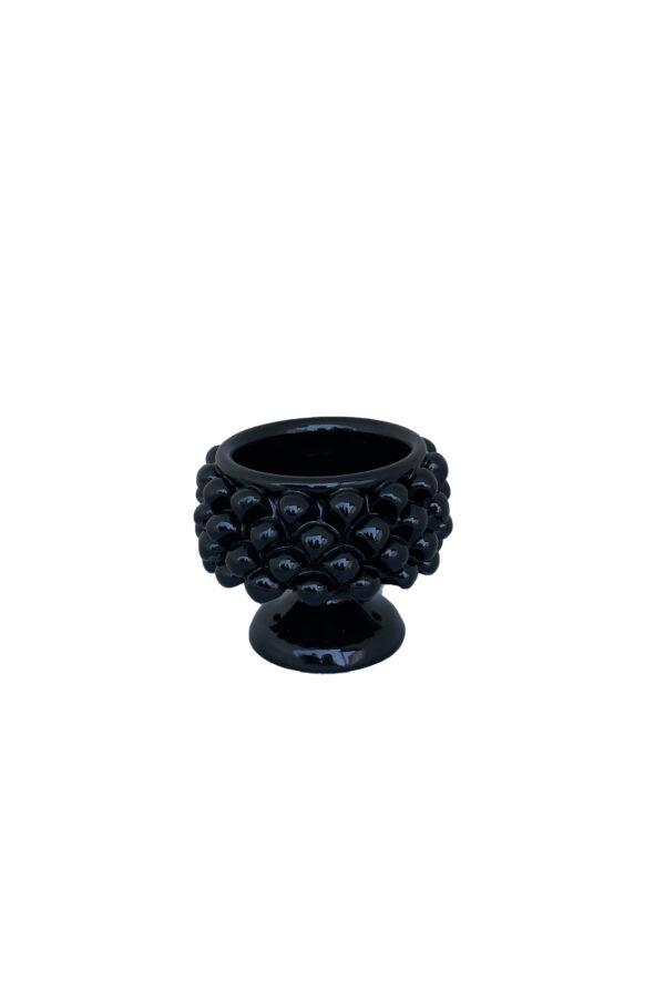 Coppa a forma di mezza Pigna in ceramica nera d. 12 cm