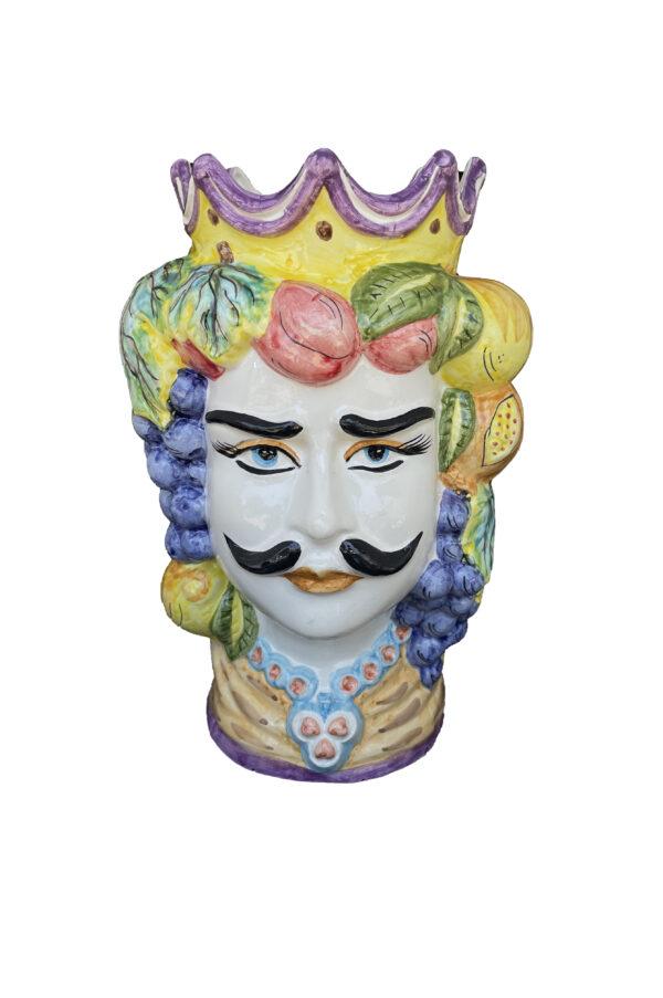 Vaso Testa di Moro uomo in ceramica dipinta sui toni del blu, viola e giallo h. 35 cm