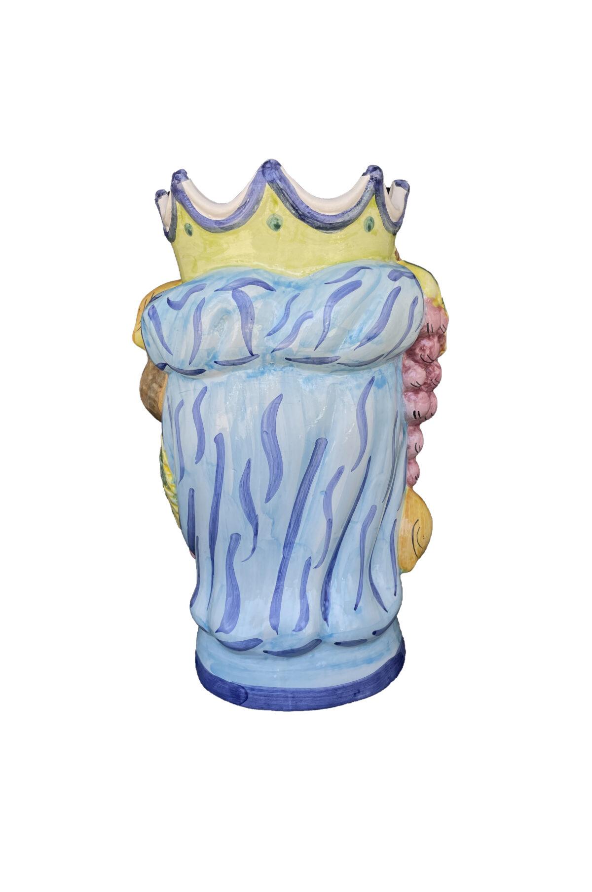 Vaso Testa di Moro donna in ceramica dipinta sui toni del rosa, celeste e giallo h. 35 cm