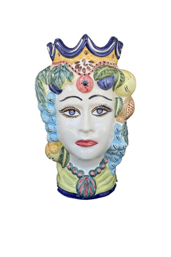Vaso Testa di Moro donna in ceramica dipinta sui toni del turchese, verde e giallo h. 35 cm