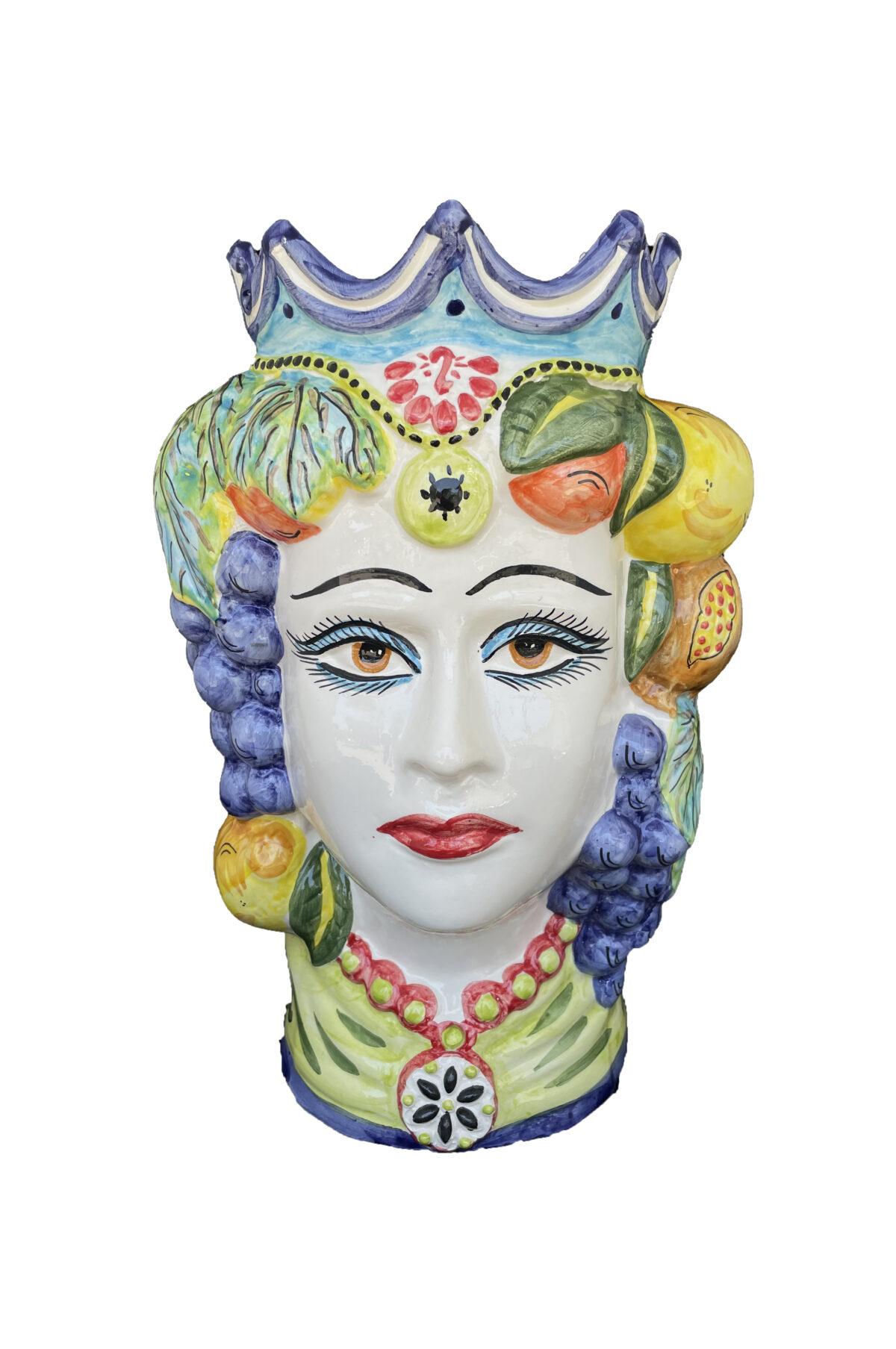 Vaso Testa di Moro donna in ceramica dipinta sui toni del blu, verde e giallo h. 35 cm
