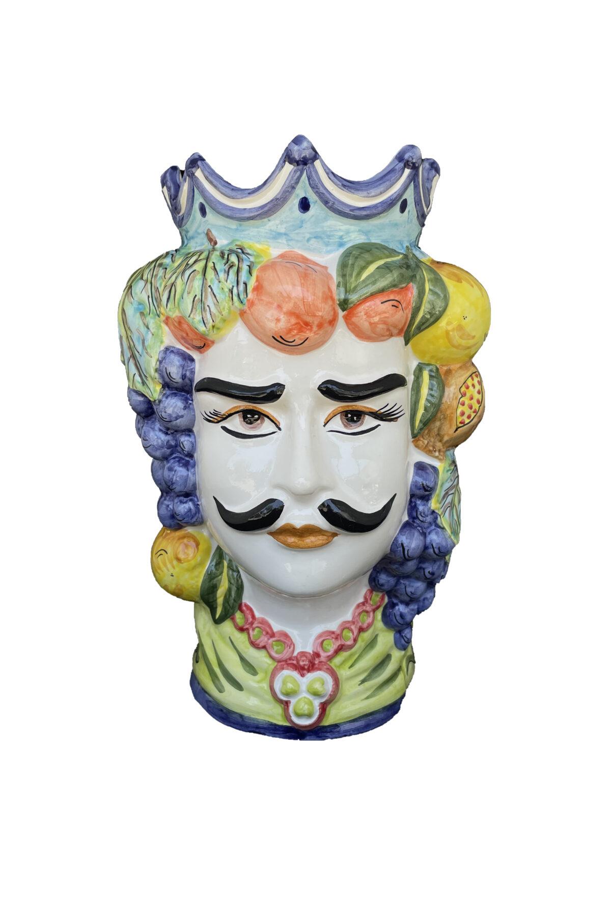 Vaso Testa di Moro uomo in ceramica dipinta sui toni del blu, verde e giallo h. 35 cm