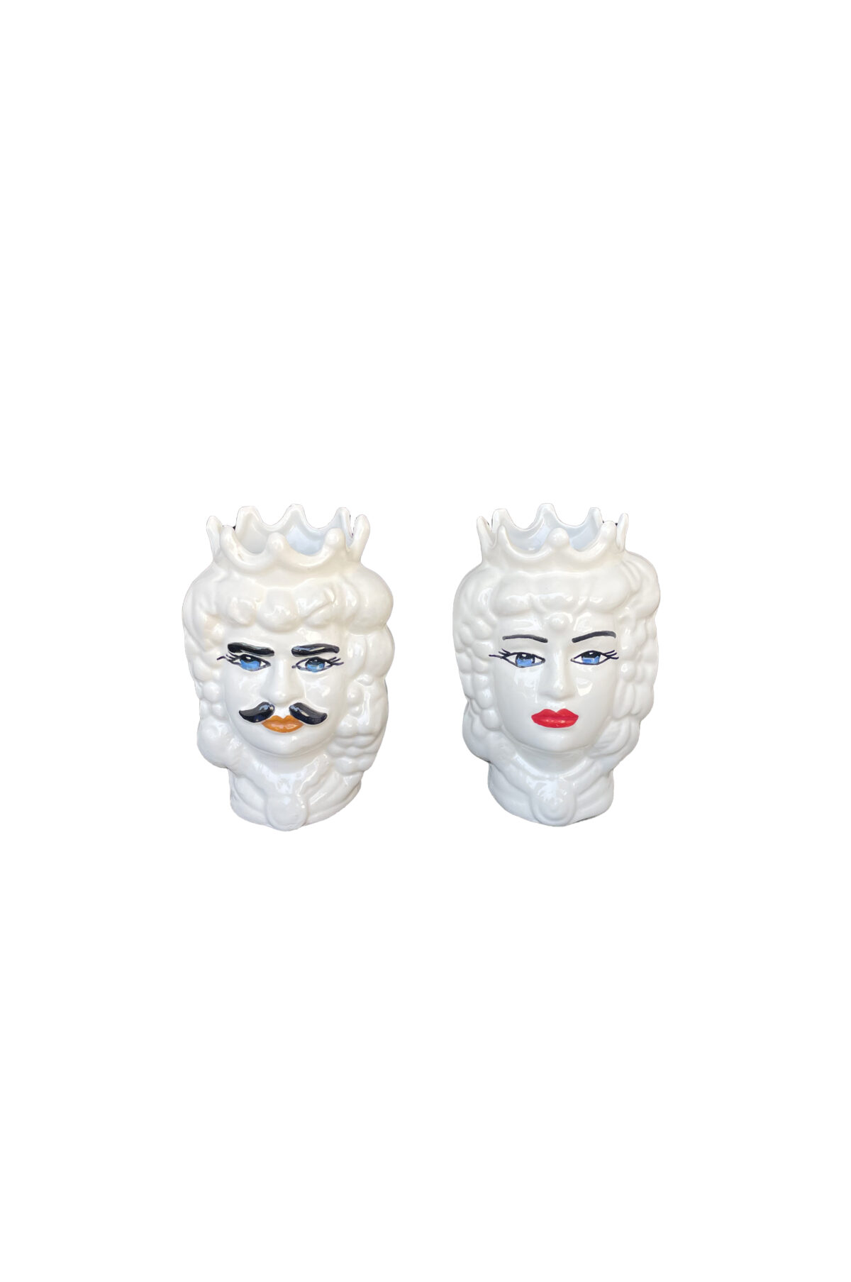 Set 2 Vasi Testa di Moro donna e uomo in ceramica bianca dipinta h. 12 cm