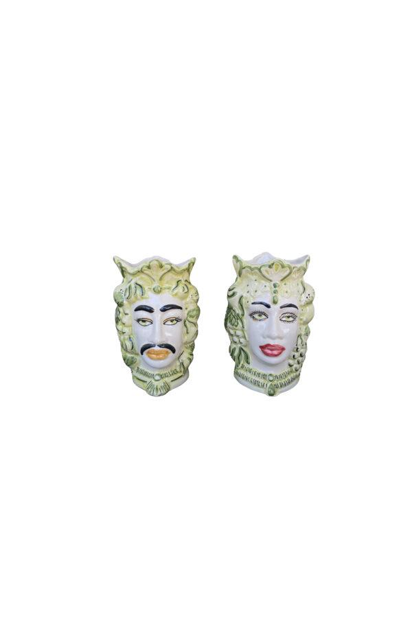 Set 2 Vasi Testa di Moro donna e uomo in ceramica dipinta sui toni del verde h. 17 cm