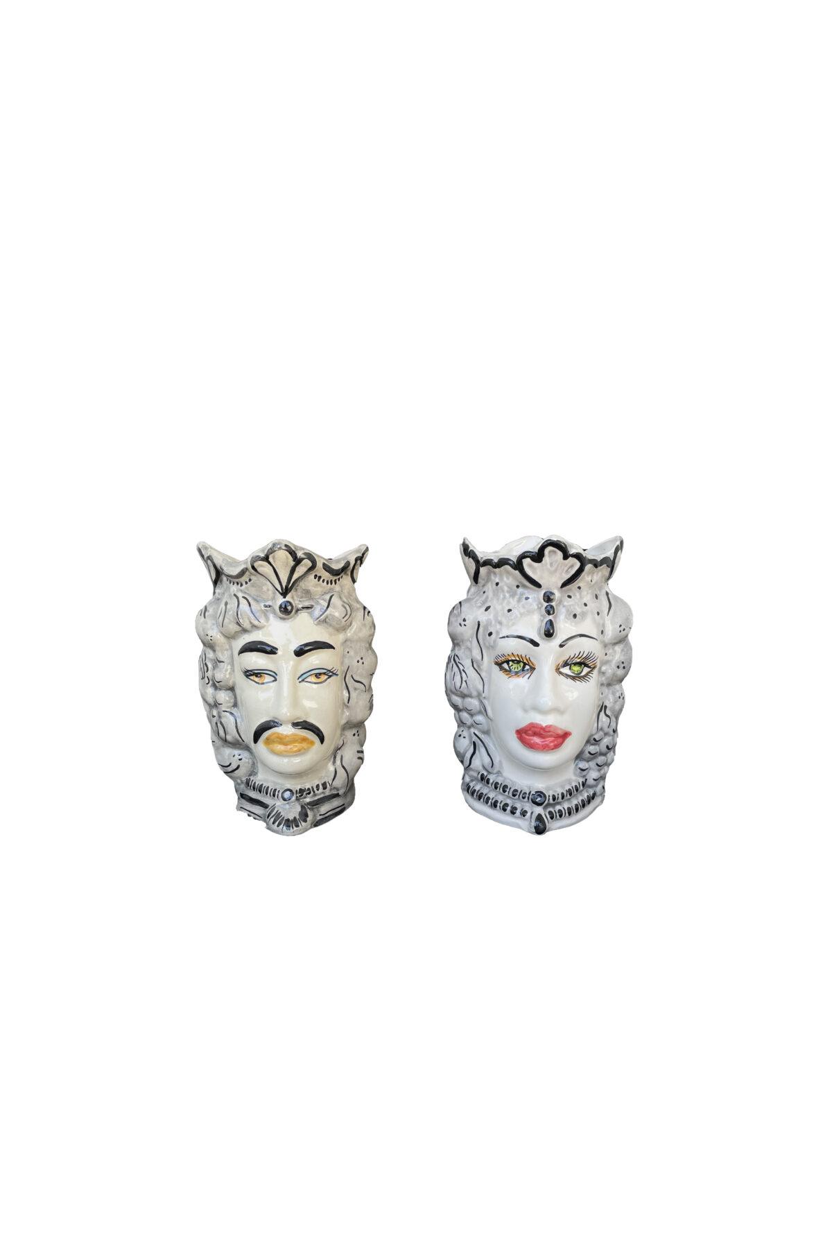 Set 2 Vasi Testa di Moro donna e uomo in ceramica sui toni del grigio e nero h. 17 cm