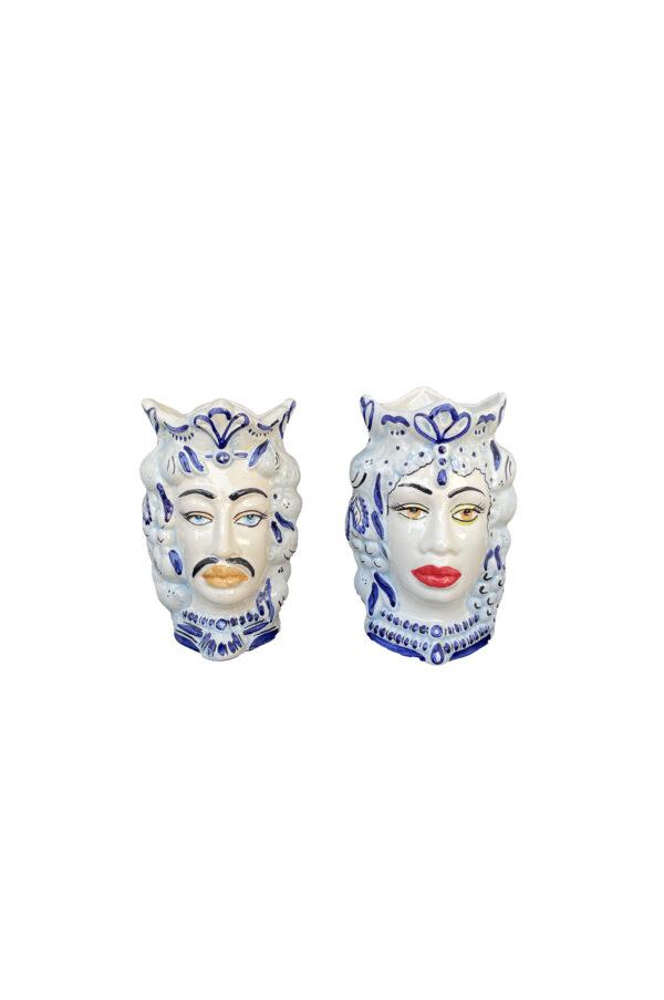 Set 2 Vasi Testa di Moro donna e uomo in ceramica sui toni del blu e celeste h. 17 cm