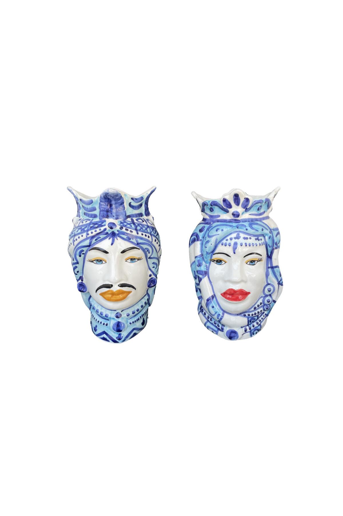 Set 2 Vasi Testa di Moro donna e uomo in ceramica sui toni del blu h. 25 cm
