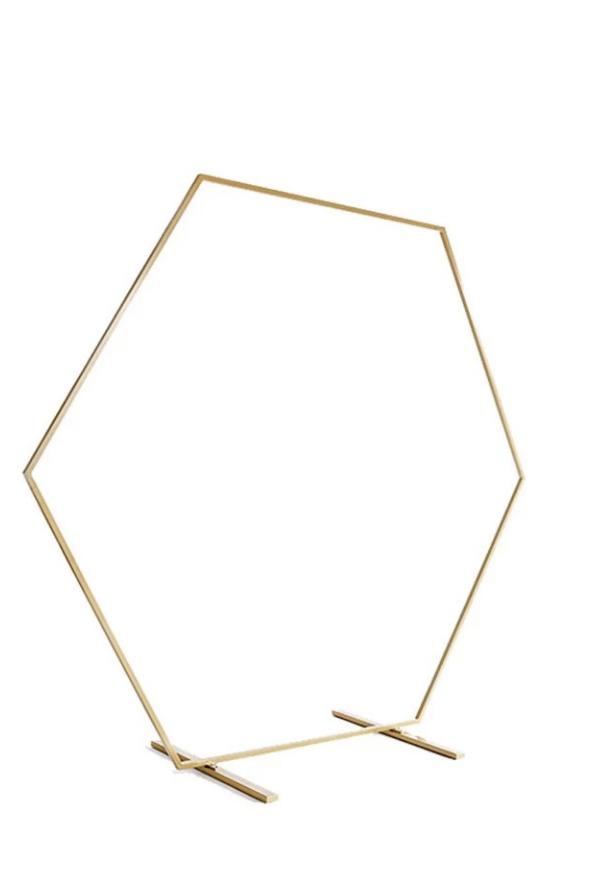 Struttura Esagono in ferro oro opaco per eventi smontabile h. 200 cm