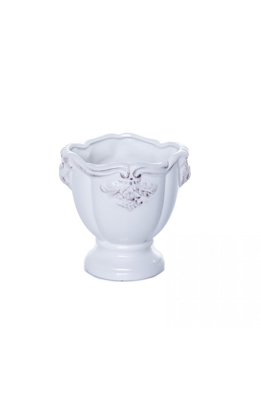 Vaso bianco in ceramica con decorazioni h. 13,5 cm