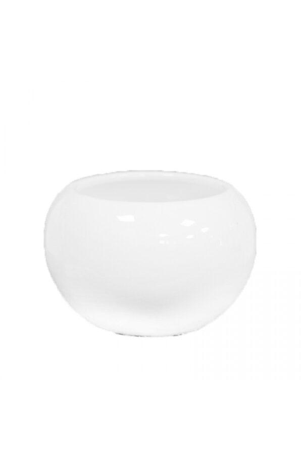 Vaso tondo in ceramica bianca d. 10 x 9,5 cm
