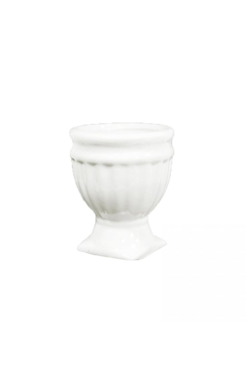 Piccolo vaso coppa in ceramica bianca 8 x 10 cm