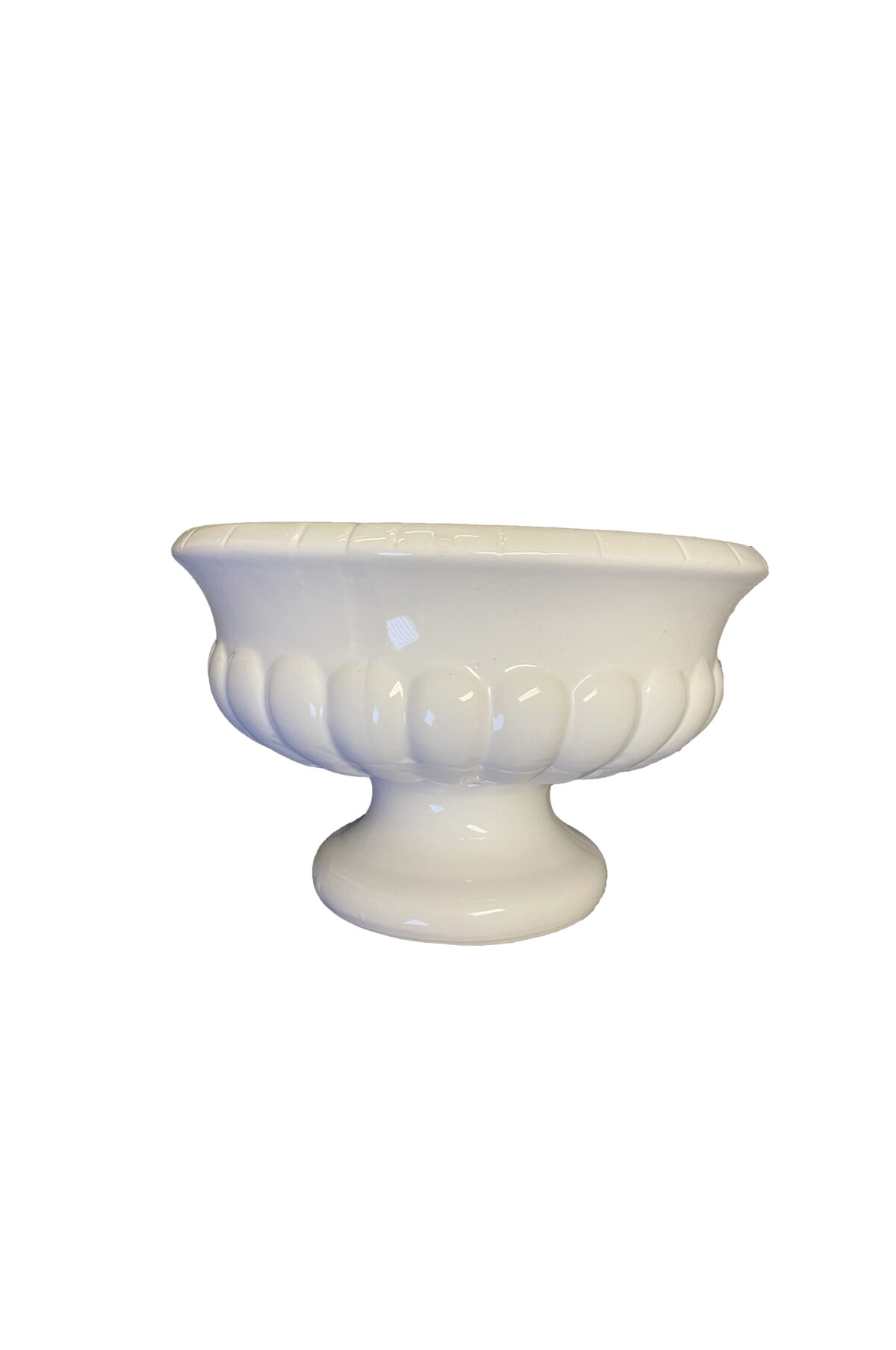 Vaso - coppa portafiori o portaconfetti bianco in ceramica d. 20 x h. 12 cm