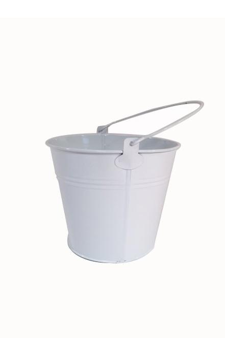 Piccolo secchiello in latta di colore bianco con manico d. 6 h. 5,5 cm