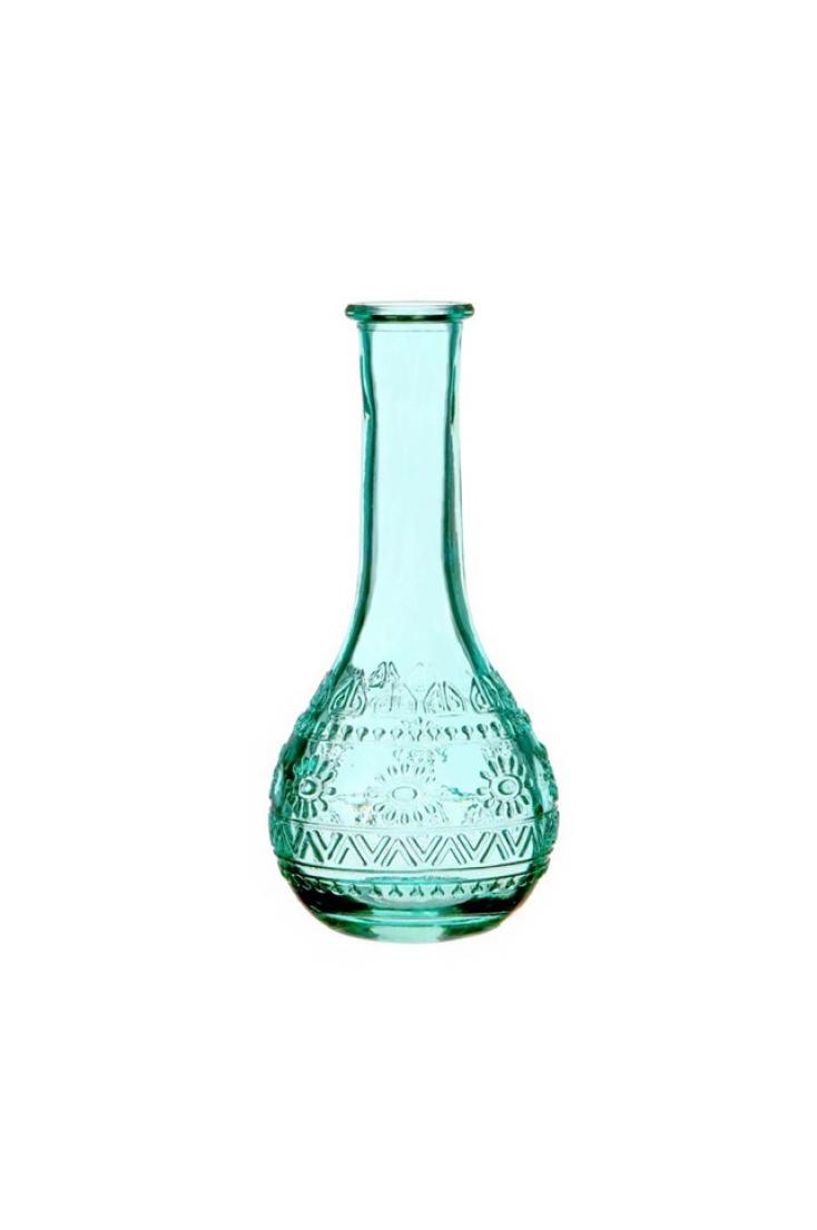 Bottiglietta decorativa di vetro turchese Portafiori - Portacandele 3 mix design (disegno casuale) d. 7,5 x h.15,8 cm