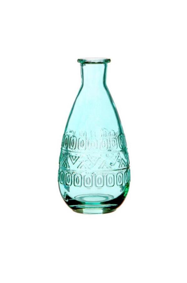 Bottiglietta decorativa di vetro turchese Portafiori – Portacandele 3 mix design (disegno casuale) d. 7,5 x h.15,8 cm