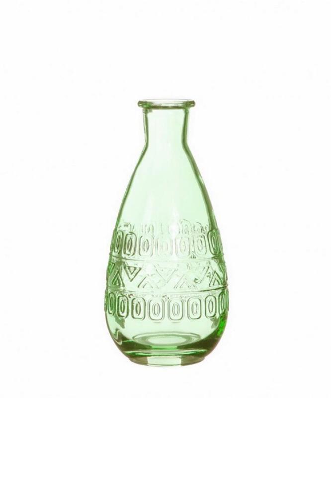 Bottiglietta decorativa di vetro verde Portafiori – Portacandele 3 mix design (disegno casuale) d. 7,5 x h.15,8 cm