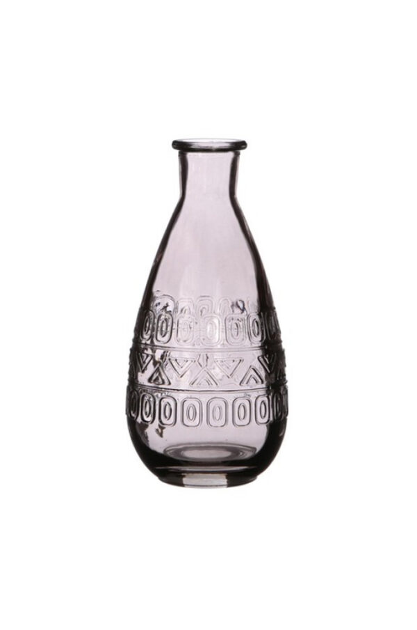 Bottiglietta decorativa di vetro grigio Portafiori – Portacandele 3 mix design (disegno casuale) d. 7,5 x h.15,8 cm