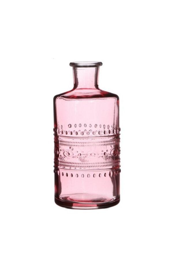 Bottiglietta decorativa di vetro rosa Portafiori - Portacandele 3 mix design (disegno casuale) d. 7,5 x h.14,5 cm