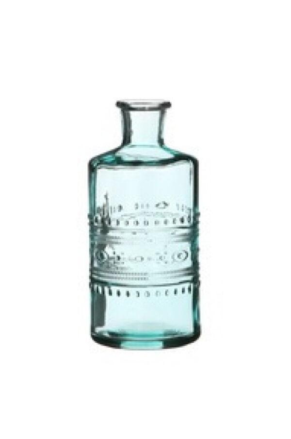 Bottiglietta decorativa di vetro turchese Portafiori - Portacandele 3 mix design (disegno casuale) d. 7,5 x h.14,5 cm
